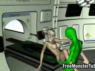 Inked 3D Blonde Babe Gets Fucked By An Alien