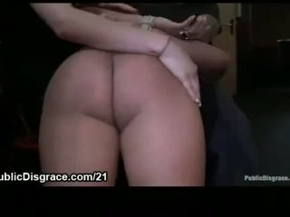 Busty bound Spanish girl fucked in public