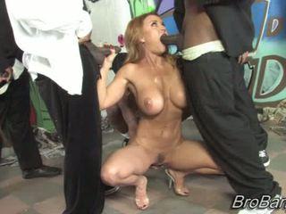 Janet Mason gets bukkaked by ten blacks