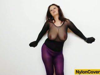 Huge titties cutie in nylon mask and full body nyl