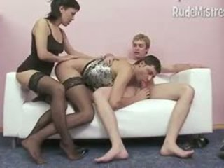 Rude Femdom Mistress With Bi-male Couple