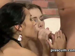 Alexis Crystal and Lexi Dona kissing in golden shower