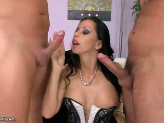 Pretty sexy brunette riding two cocks