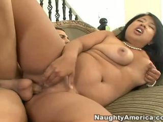 Busty Asian wife gets rammed by massive white cock