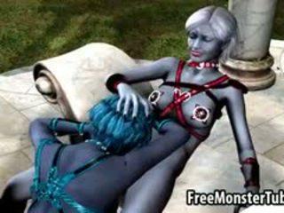 3D Cartoon Alien Lesbian Babe Gets Licked Outdoors