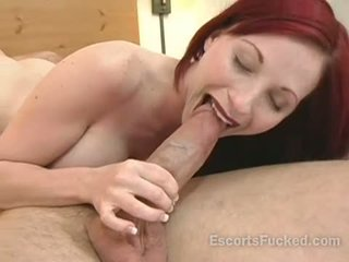 Escort sucks big cock before sex with a guy in a hotel