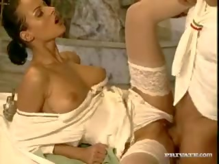 brunette, double penetration, euro, blowjob