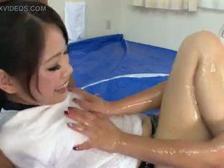 Subtitled Japanese amateur sumo oil wrestling stripping game