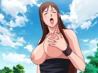 Outdoor 3d anime 3some with sexy blonde in swim suit
