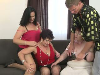 Granny and Busty Moms Sharing Young Son, Porn ad