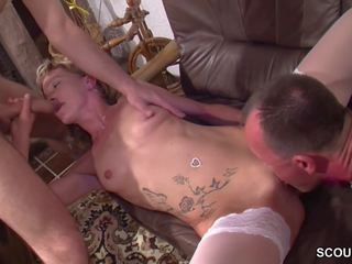 Extrem Hot German Teen get First Threesome in Porn...