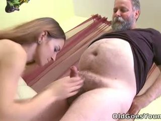 Bearded old man loves to suck on Ninas nipples until she gets nice and wet for him
