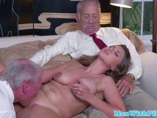 Busty Babe Fucked and Licked by Geriatric: Free HD Porn 69