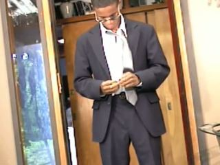 Stylish Black Dude in Nice Suit Pulls Cock