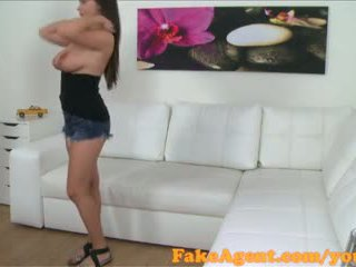 FakeAgent American babe with lovely natural tits fucks in casting