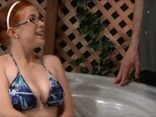 Cute redhead Penny jacuzzi fuck