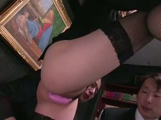 Secretary beauty gets hardcore threesome fuck on a desk