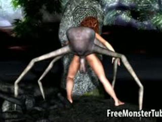 3D Cartoon Brunette Babe Fucked By An Alien Spider