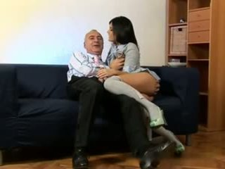Old Man and a Brunette Schoolgirl, Free Porn 23