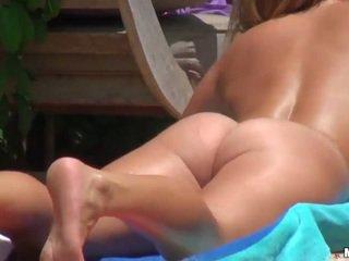 Nude sunbathing and horny pussy fucking