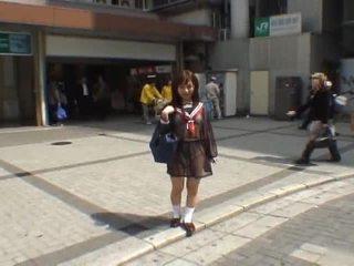 Mikan astonishing アジアの 女子生徒 enjoys 公共 flashing