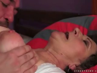 Busty hairy granny making love with her boyfriend