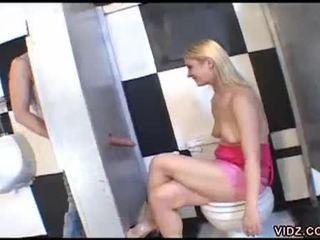 Aaralyn barra sucks cock from cubicle wall