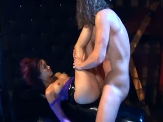Katsumi anal sex in shiny black boots and fishnet