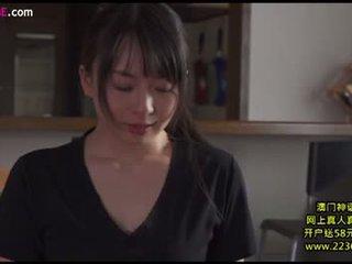 brunette, japonais, baisers