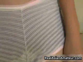 Dildoing Asian Stunner Pussy Filled