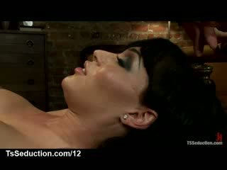 Huge dick tranny fucks bound guy anally and in mouth in bed