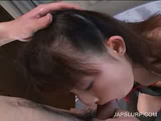 Blowjob in POV with bitchy jap