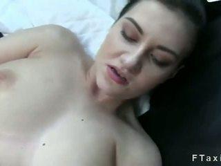 Fake taxi driver fucks busty brunette on backseat