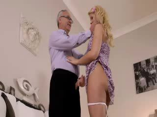 Super hot blondie really gets sucking for old jim on a couch
