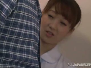 Cute chinese perawat gives a bj in a restroom