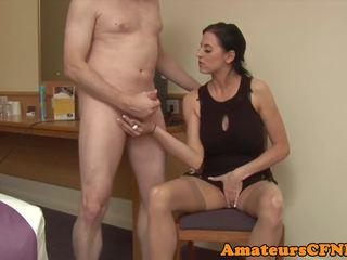 Classy CFNM Femdom Jerking Cock in Stockings: Free Porn 0b