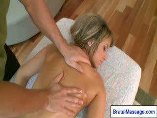 Hot Blondeee girl enjoys full body masaage at home