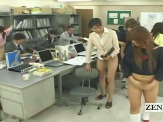 Subtitled Half Naked Bottomless Japanese School Office