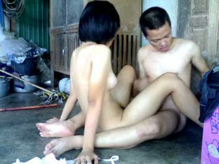 Horny Asian couple enjoy a dirty fuck next to the barn Video