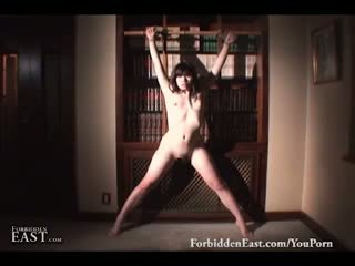 Pretty Asian slave bathes before being stripped and teased in the bedroom