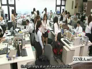 Subtitled enf japānieši birojs dāmas safety drill noģērbšana