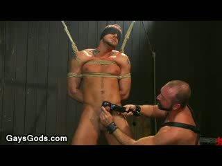 Tied up and gözi ýapylan geý gets his gotak vibed