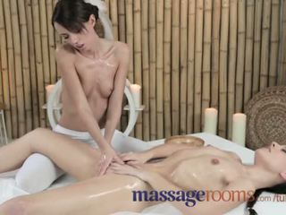 Massage Rooms Young lesbians get oiled and wet before intense orgasm