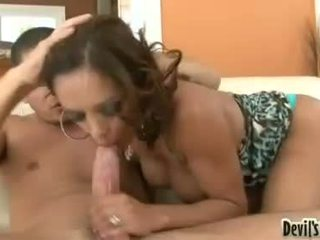 Brunette Francesca Le gives her young lover a nice blowjob he cannot forget