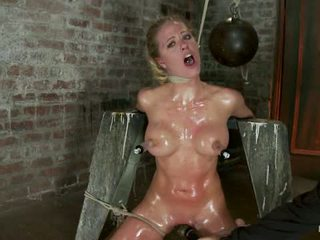 Elbows Bound Knees On Hard Wood Nipple Suction Neck Rope Breath Play Face Fucking Made To Cum1