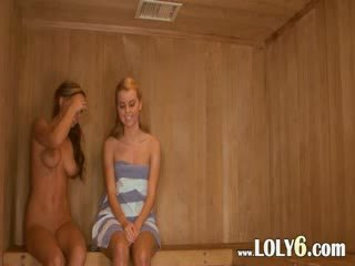 Lesbian pussy licking in the hot sauna