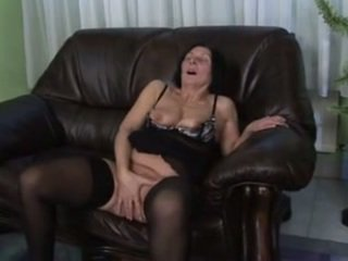 Hairy Granny in Stockings Toys and Fuc...