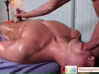 Dylan getting oiled and prepped