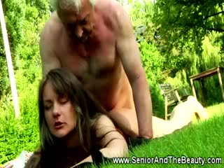 Tattooed rumaja babeh rides this lucky old guy outdoors
