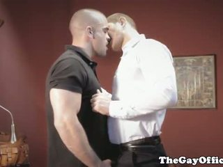 Gayhunks invite voyeur over for threesome